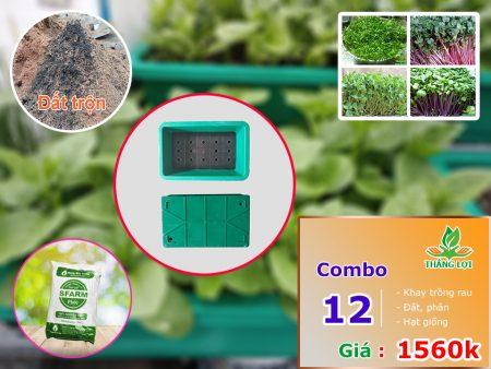 Combo 12 khay trồng rau gồm đất trộn, phân, hạt giống