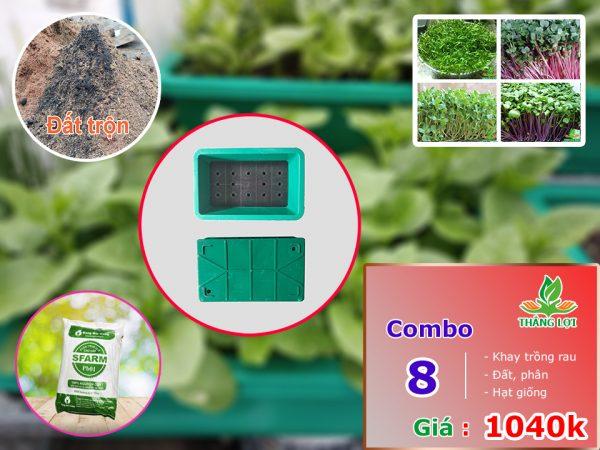Combo 8 khay trồng rau gồm đất trộn, phân, hạt giống